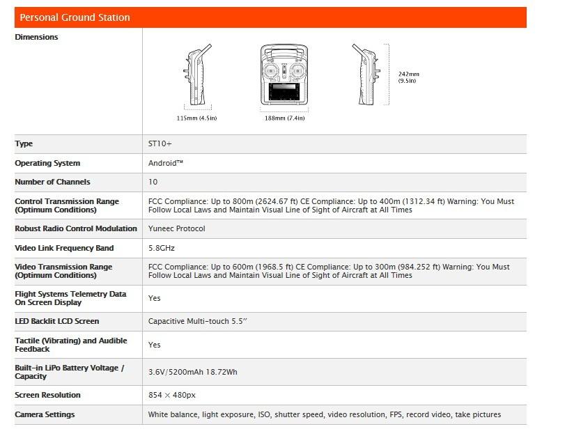 Yuneec Typhoon Q500 4K ST10 Radio 58G 10CH Handheld