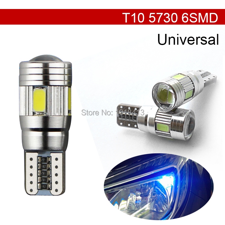 2 X Auto Car Light Bulb 5630 6 SMD 10 LED T10 W5W 12V Universal Common Interior Parking Projector Lens 6 colors Free Shipping(China (Mainland))