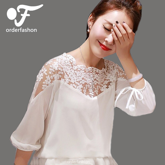 Women Blouse 2015 Summer Style Sexy Lace Top White Blouses Income Ladies Femme Chiffon Blusa Femininas Camisas Casual Shirts(China (Mainland))
