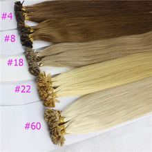 1g/s 100g Human Remy Hair Ash Brown Platinum Blonde Straight Custom Capsule Keratin U-tip or Flat-tip Human Hair Extensions(China (Mainland))