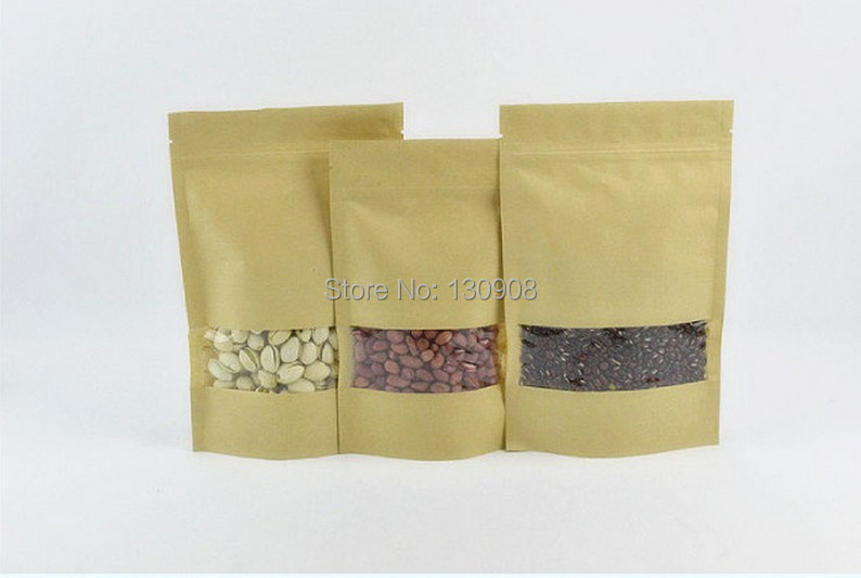 Small recycled kraft bag with window, stand up brown paper zip lock paper bags for tea(China (Mainland))