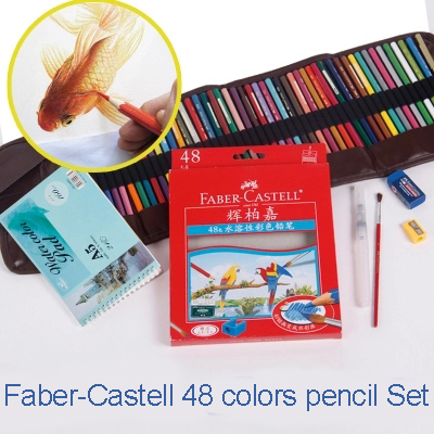 Faber-Castell 48 Color Water-soluble Colored Pencil Color Set Curtain +Watercolor Paper Student Stationery School Supplies(China (Mainland))