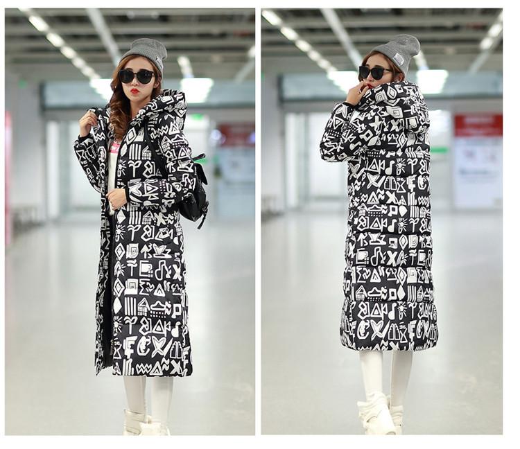 Скидки на 2016 Большой размер высокое качество зима удлиненные вниз хлопка куртка женщин Сгущать пальто женский верхняя одежда Повседневная мода печати