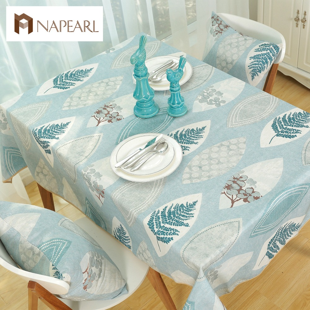Rustic Style Tree Leave Design Cotton Linen Table Cloth