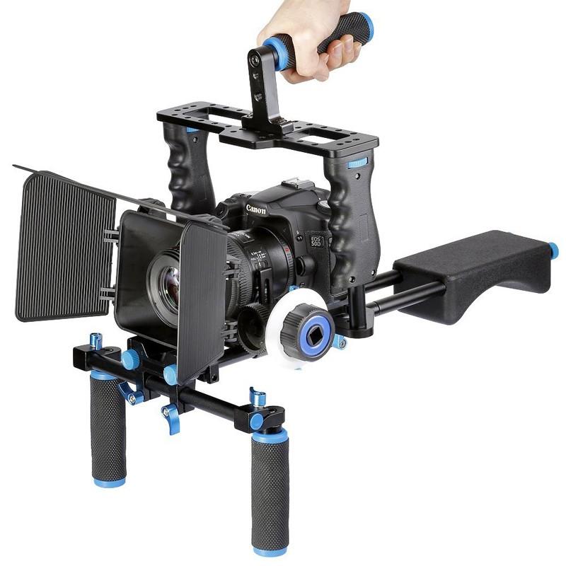 ถูก มืออาชีพDSLR Rigไหล่โคลงกล้องวิดีโอสนับสนุนกรง/เคลือบกล่อง/ตามโฟกัสสำหรับกล้องCanon Nikonโซนี่กล้องวีดีโอ
