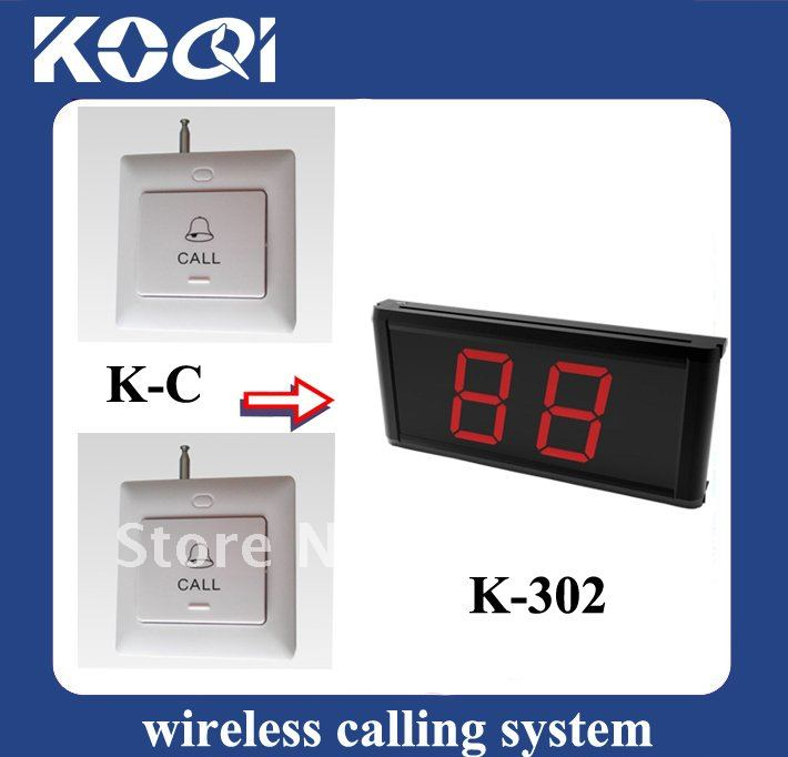 Hot sell 1 Set LED Display Wireless Table Waiter Service Paging Call Calling System 1 Receiver+5pcs button Free Ship By DHL/EMS(China (Mainland))