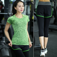 NEW professional women sports sets T-Shirts & 7 Pants sets running Fitness Sportswear Quick-drying high elastic Yoga sport Suits