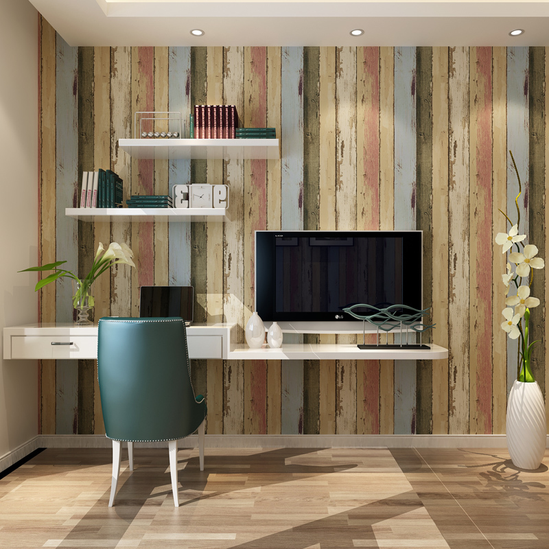 American imitation wood to do the old paint retro wallpaper bedroom living room TV wall vertical striped wallpaper(China (Mainland))