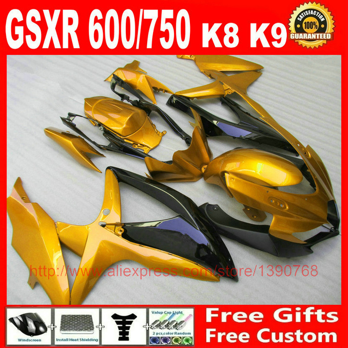 Custom Fairing kit Suzuki GSXR600 GSXR 750 08 09 10 black golden fairings set K8 600 2008 2009 2010 DV15 - Welcome Shopping's store