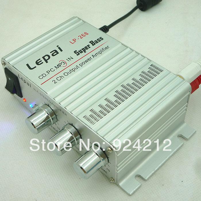 New Mini Hi-Fi Audio Stereo Amplifier Amp mp3 iPod Car Motorcycle 12V LP-268 Speaker(China (Mainland))
