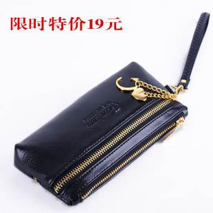 Compound 2012 senior cowhide fashion zipper long design women's wallet keychain bag chain decoration