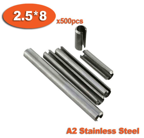 500pcs DIN1481 2.5 x 8 A2 Stainless Steel Slotted Spring Pins<br><br>Aliexpress