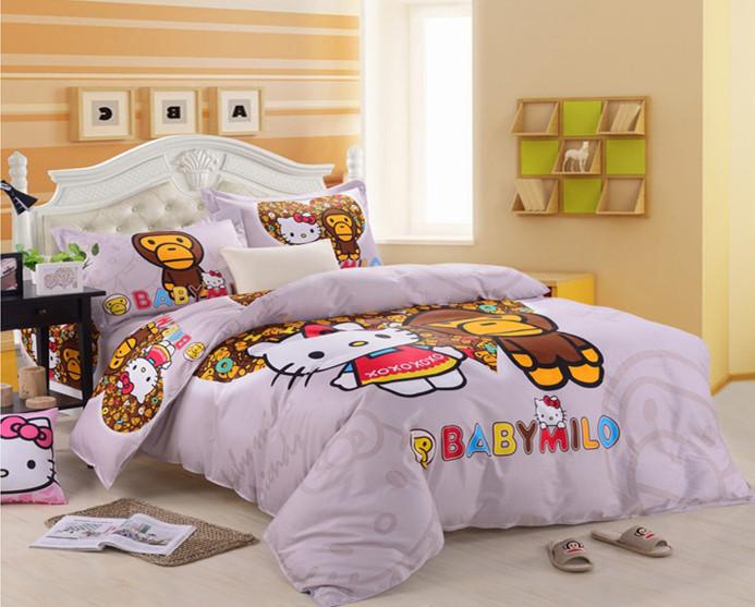 hello kitty bedding set twin full queen king reactive printing bedroom