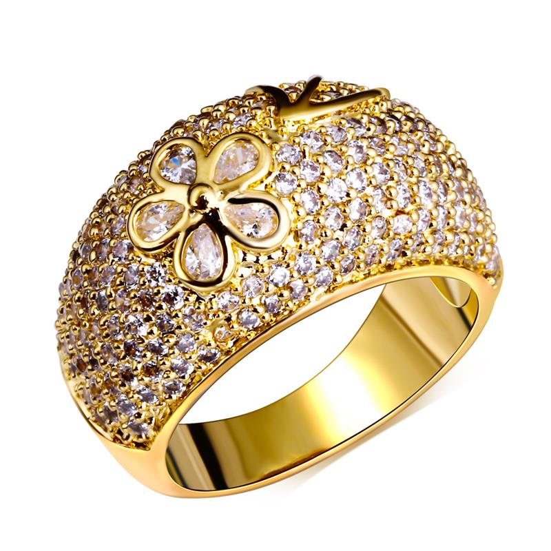 Love Deluxe Earrings-Women Rings 18K Gold Platinum Plated Romantic Flower Finger Ring Bohemia Luxury Cubic Zircon Free Shipping(China (Mainland))