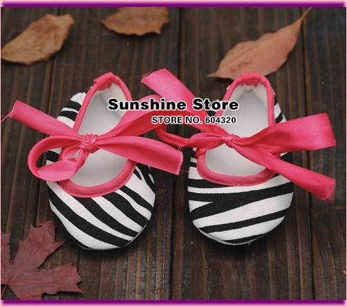Zebra infant  Baby Ballerina bebe shoes Crib Prewalker girls moccasins ribbon anitslip casual 2015 booties #2B2025  3 pair/lot