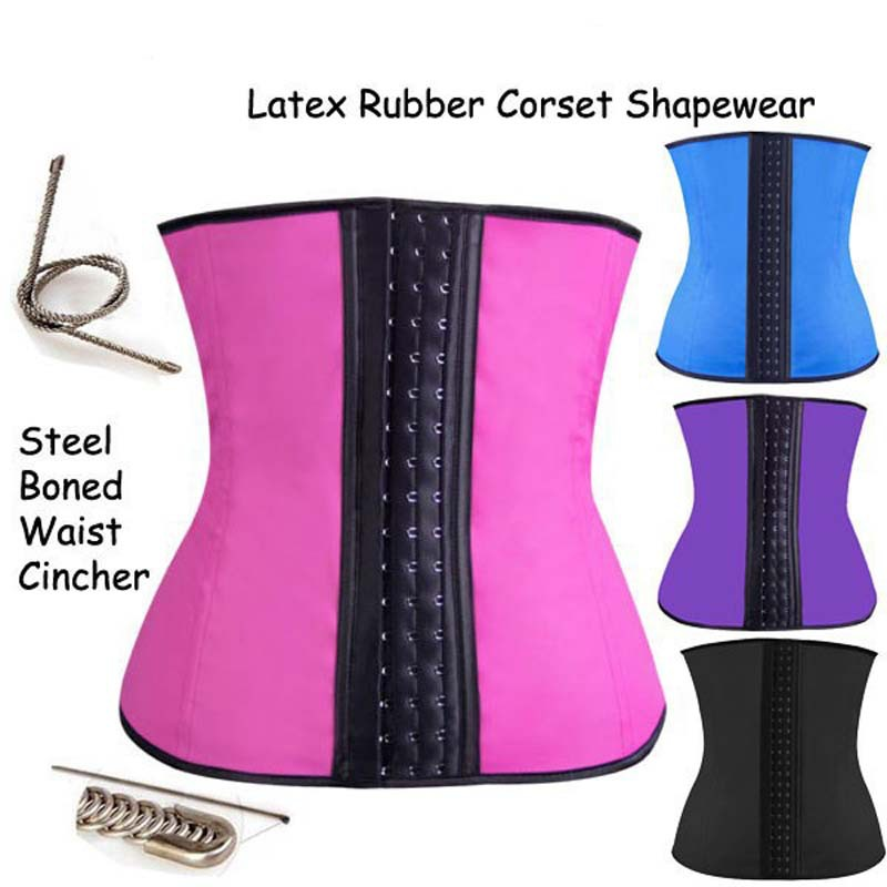 Latex Waist Training Steel Boned Waist Cincher Belt Latex Rubber Corset Shaperwear Plus Sized Black Purple Blue Pink Colors