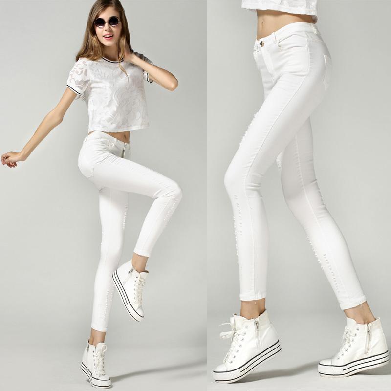 2015 New Fashion Summer Style Women Pants White Pencil Capris Asymmetric Hole Sport Street Pants for Women 1696(China (Mainland))