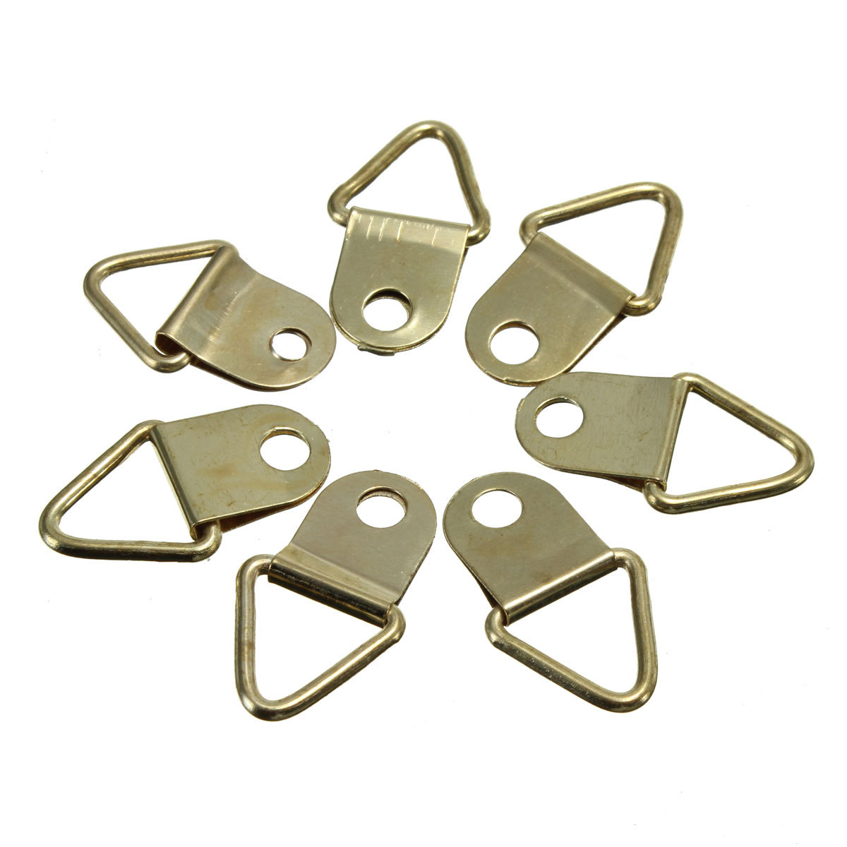 MTGATHER Universal Strong Golden 50pcs D Rings Decor Picture Frames Hanger Hooks Hanging Triangle Screws Helper(China (Mainland))