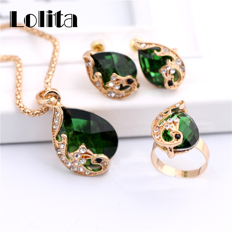 Free shipping New Fashion 18k Yellow Gold Filled Clear Resin Crystal Peacock Necklace Earring Ring Wedding