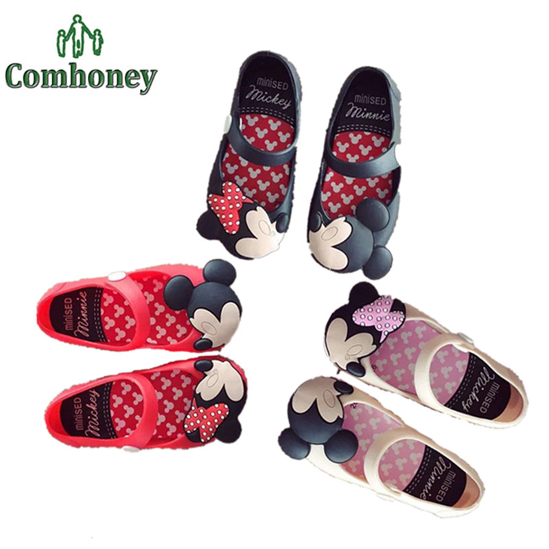 kisses minnie mouse baby girls summer shoes kids princess infant toddler flat shoes for girls jelly sandals children footwear