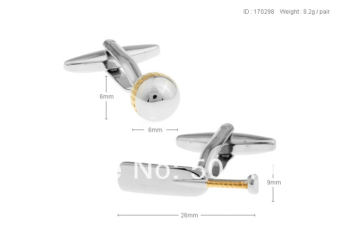 Fancy Cuff Links New Silver Sport Gold Cricket CUFFLINKS for shirt S150(China (Mainland))