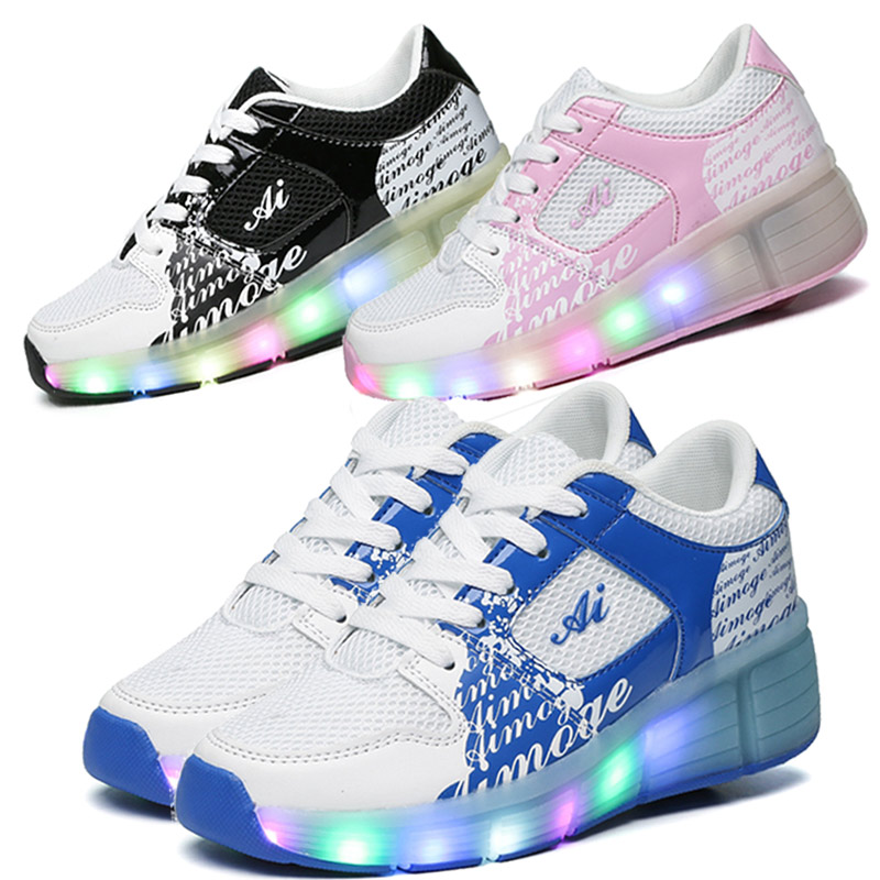 Eur27-37 //Heelys Jazzy Junior girls&boys LED Light Heelys Roller Skate Shoes For children&kids Sneakers With Wheels shoes(China (Mainland))