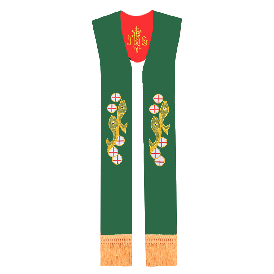 Reversible Stole for Chasuble Cope Vestments Priest Red/Green IHS Embroidered Fish Stole with Tassel(China (Mainland))