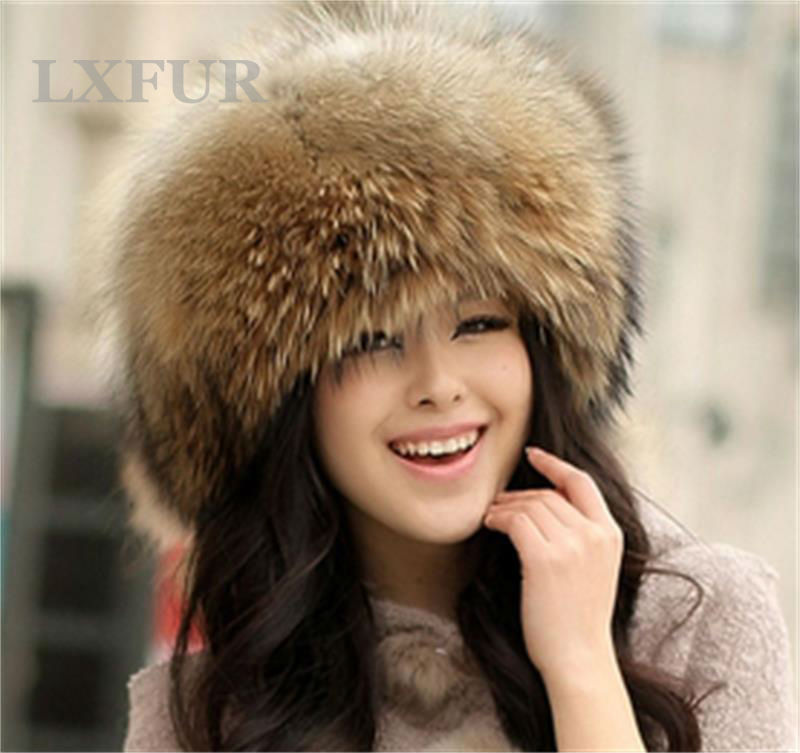 Classic Womens Real 100% Fox Fur Hats Ladies Winter Warm Genuine Raccoon Hat Casual Cap LX00009-1 - LuxuryFur store