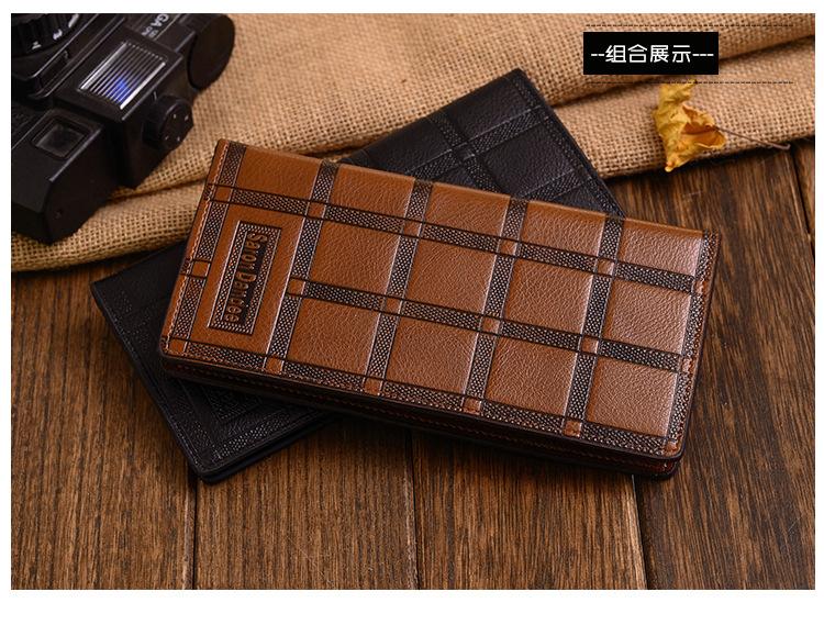 1 Piece 2015 New Fashion PU Leather Plaid Wallet Male Bag Brand Chocolate Men Wallets Handbag Purse(China (Mainland))