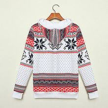 Winter Warm Women Hoodie Christmas Snowflake Jumper Sweatshirt Tops 8 16