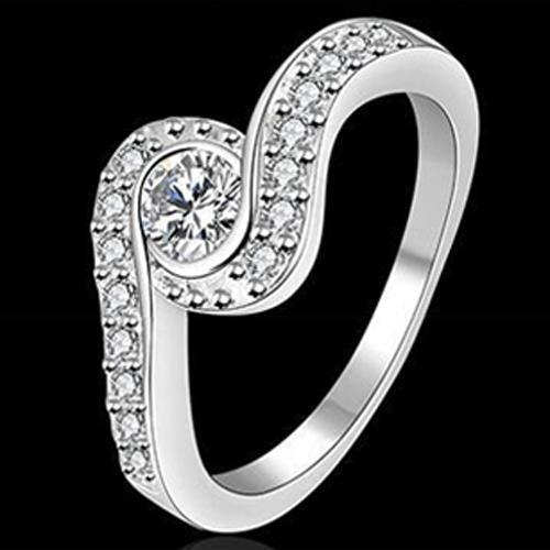 Delicate Fashion Women's Jewelry Silver Plated Ring Clear Zircon CZ Rings US Size 7,8 Jason686 - Jason Co., Ltd. store