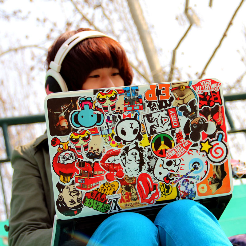 60 pieces Fashion PVC adesivos stickers,high quality waterproof cartoon doodle decor stickers for macbook,laptop sticker(China (Mainland))