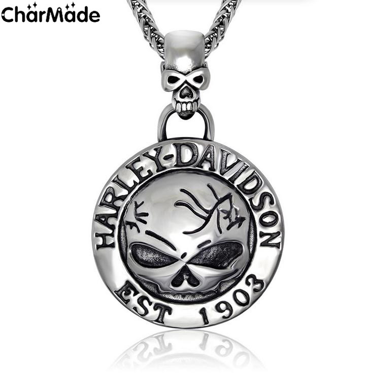 Retro EST 1903 Silver Tone Round Biker Pendant inlay Goggled Skull in Stainless Steel with 32in Wheat Fox Chain CharMade P153(China (Mainland))