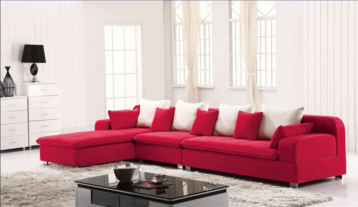 Red and white sofa ~ photho for .