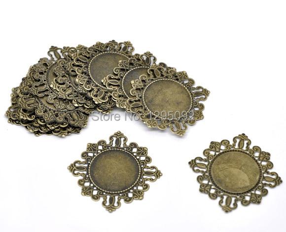 Здесь можно купить  750Pcs Wholesale Bronze Tone Rhombus Losange Cabochon Frame Settings Picture Settings Support de Cameo 42x42mm  Ювелирные изделия и часы