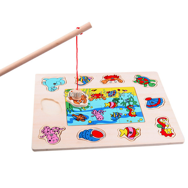 Гаджет   Children Fishing Game & Wooden Ocean Jigsaw Puzzle Board Combo Magnetic Rod Toy Free Shipping & Drop Shipping None Игрушки и Хобби