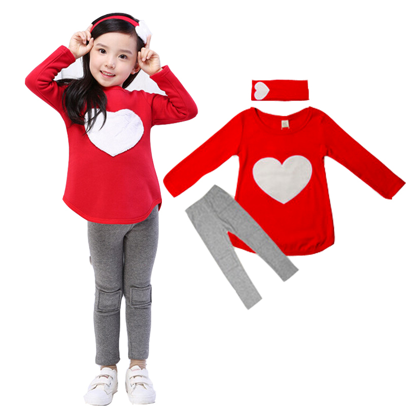 3PCS LOVE SET= 1pc hair band+1pc shirts+1pc pants Children's Clothing set Girls Clothes suits Pink Red Heart Design(China (Mainland))