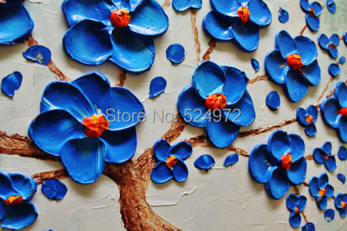 Buy Hand painted modern home decor wall art picture blue Blooming Tree green thick palette knife oil painting on canvas no frame cheap