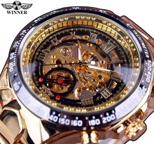 Winner New Number Sport Design Bezel Golden Watch Mens Watches Top Brand Luxury Montre Homme Clock Men Automatic Skeleton Watch(China (Mainland))