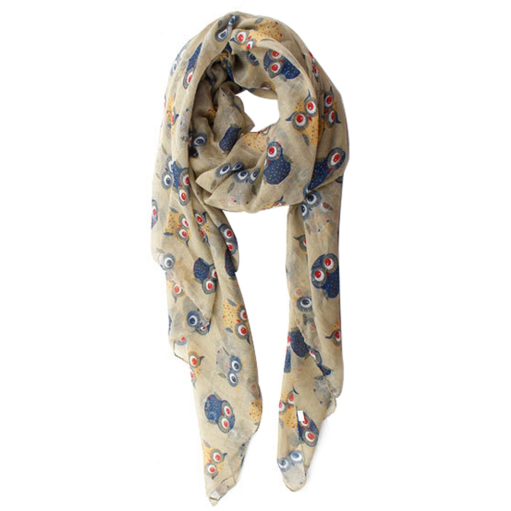 BISM Hot 2016 fall fashion women scarves animal printed owl scarf cute scarf owl with branch voile long shawl navy blue(China (Mainland))