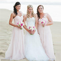 Cheap Chiffon Long Bridesmaid Dresses Pink Plus Size One Shoulder Ruffle Bruidsmeisjes Jurk Party Gowns