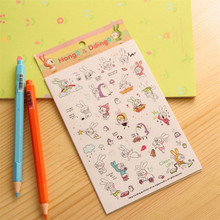 6 Sheets/set Book Sticker Cartoon Rabbit Diary Scrapbook Calendar Notebook Label Decoration 5 sets/bag Z281