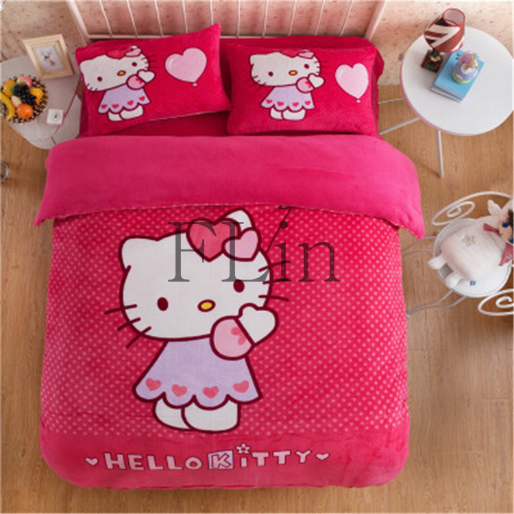 2016 Children Red Home Textile Hello Kitty Flannel bedclothes Queen/Twin Duvet Xover Aheet Pillowcase Bedding Set FLR85(China (Mainland))