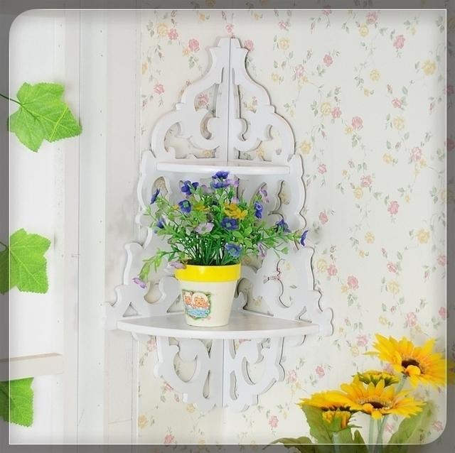 Rustique sculpt tag re murale coin d coupe pot de fleur porte maison tag r - Etagere murale rustique ...
