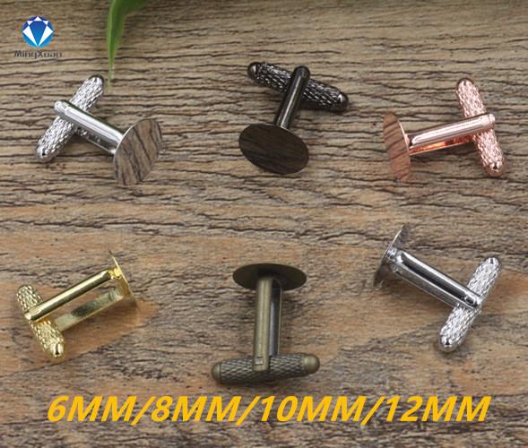MINGXUAN 5pcs/lot Shiny Silver Plated Cufflink Blank Settings Round Blank Bezel Base for 8mm Cabochon DIY Cufflinks Findings(China (Mainland))