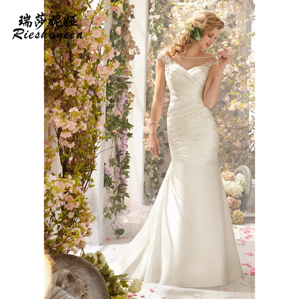 2015 classical elegant wedding dress from the shoulder for Down to the floor