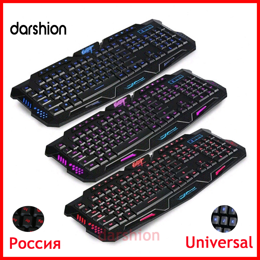 Free shipping LED keyboard 3-Color Keyboard Switch backlit keyboard USB Wired Gaming PC/Laptop Keyboard Computer Peripherals(China (Mainland))
