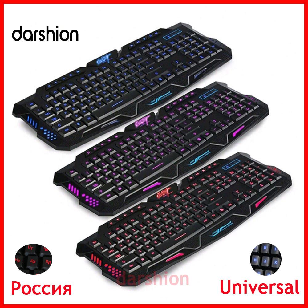 Free shipping LED keyboard 3-Color Keyboard Switch backlit keyboard USB Wired Gaming PC/Laptop Keyboard Computer Peripherals(China (Mainland))