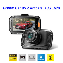 Free Shipping!! Original GS90C Car DVR Ambarella A7LA70 2304*1296P 30fps 2.7Inch LCD 170 Wide Angles+G-Sensor+GPS Dash Cam(China (Mainland))