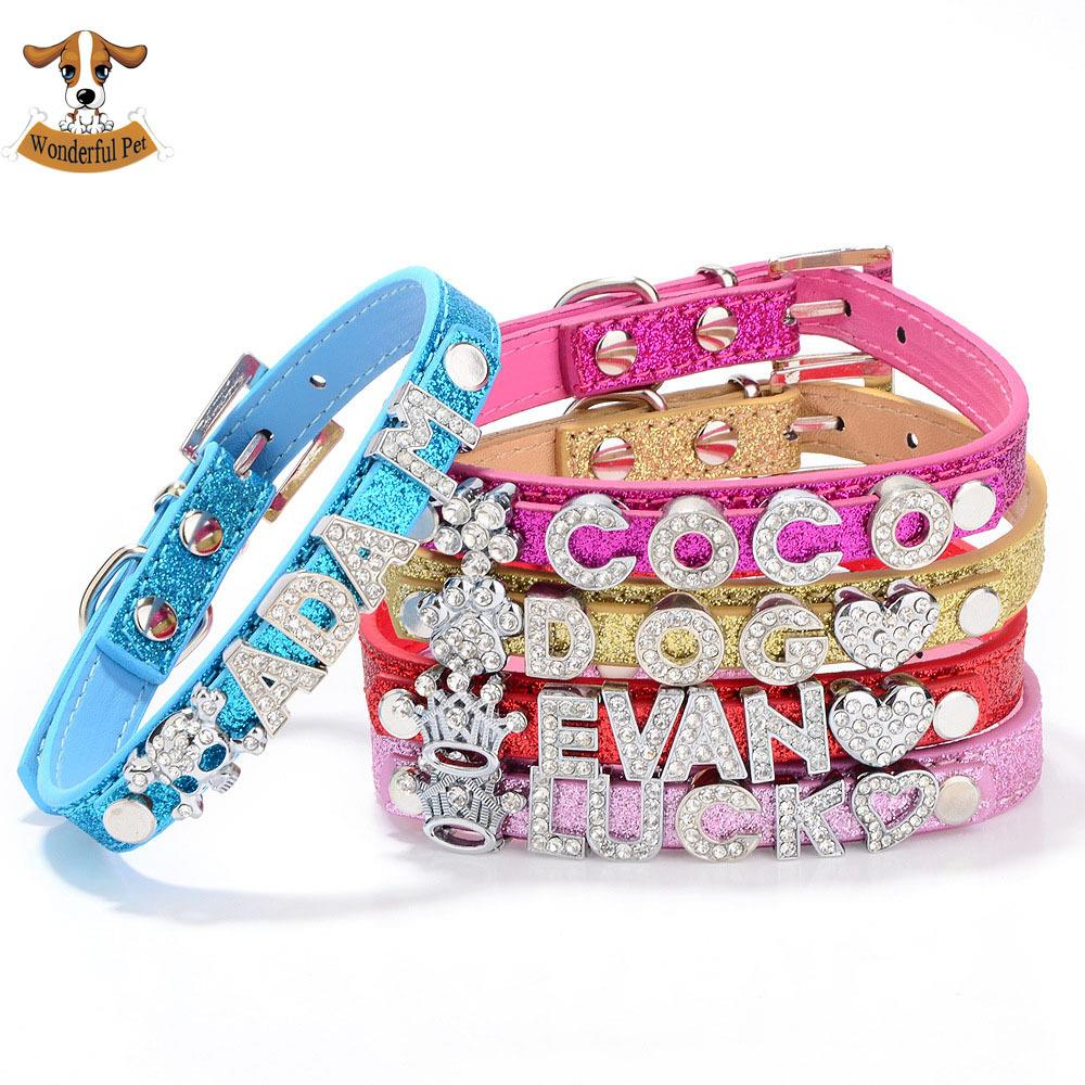 10MM Bling Personalized Pet Dog Collar with Rhinestone Buckle Customized Puppy Cat Necklace Free Name and 33 Charms Optional(China (Mainland))